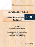 Notas Para El Curso Ecuaciones Diferenciales Parciales - Adolfo Zamora Ramos