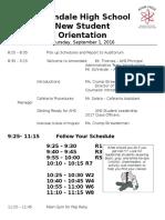 freshman orientation agenda - 2016