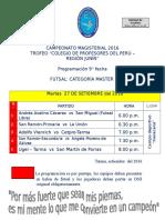 CAMPEONATO MAGISTERIAL - 2106 PROGRAMACIÓN 9° FECHA FUTSAL MASTER