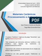 Materiais Cerámicos - Processamento e Aplicações