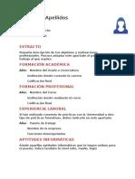 Plantilla de Curriculum Vitae Para Estudiantes