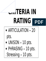 Criteria for Choral Reading