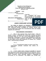 Draft Joint Complaint-Affidavit_Marte and Bolo vs. Borromeo