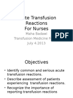 Transfusion Reactions for Nurses