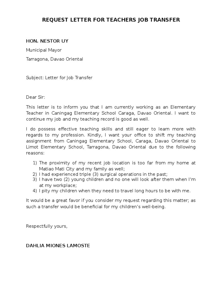 Request Letter For Teachers Job Transfer