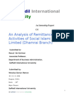 An Analysis Of Remittance Activities Of Social Islami Bank Limited