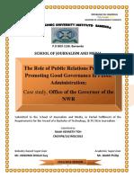 PR Practice Promote Good Governance in Public Administration