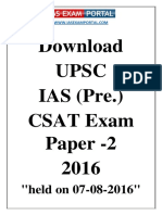 UPSC IAS Pre CSAT Exam Paper 2016 Paper 2 Held on 07-08-2016