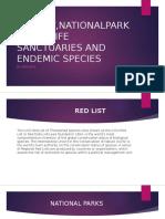 REDLIST,NATIONALPARKS,WILDLIFE SANCTUARIES AND ENDEMIC SPECIES.pptx