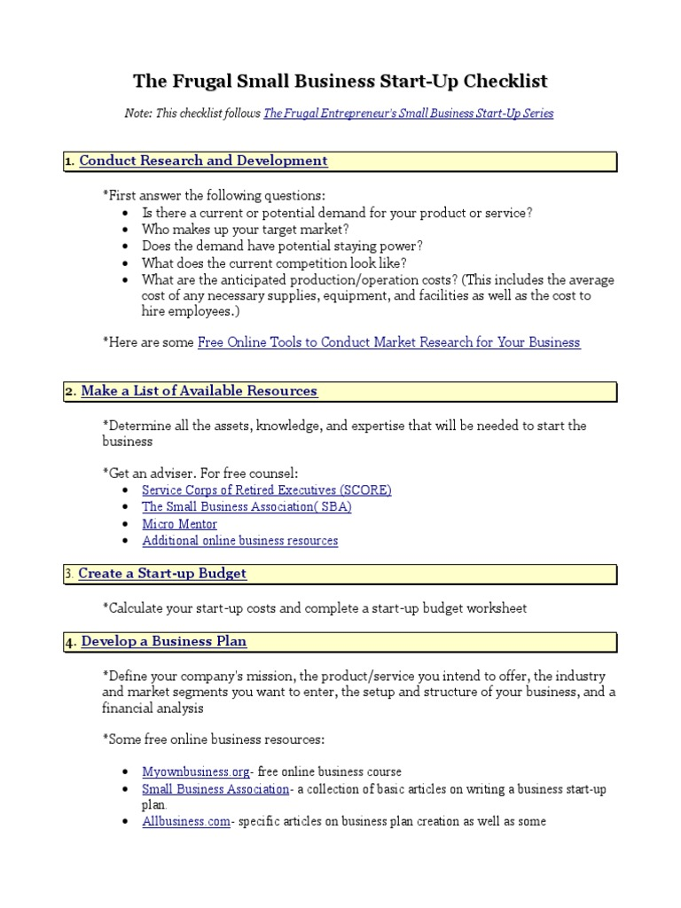 Small Business Startup Checklist (1)   Perusahaan Perintis