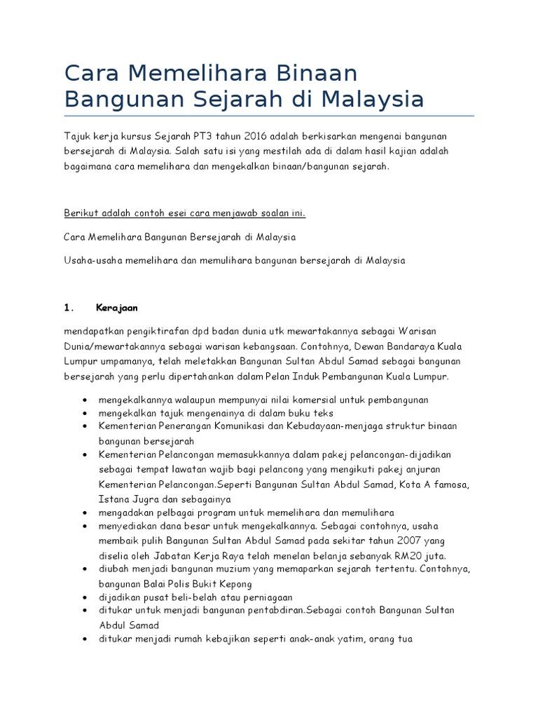 Cara Memelihara Binaan Bangunan Sejarah Di Malaysia Folio Afif