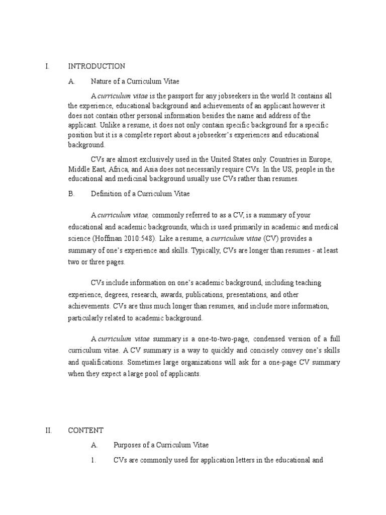 Curriculum Vitae 1 Docx Resume Curriculum