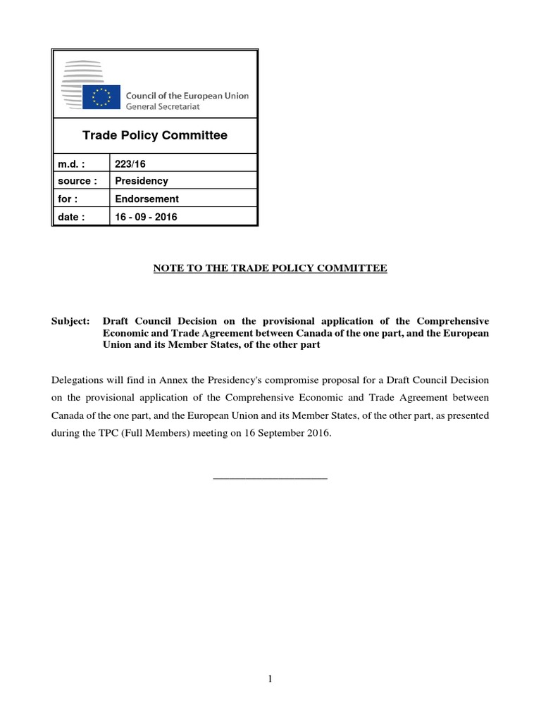 Draft Council Decision On The Provisional Application Of Ceta