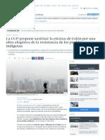 La CUP Propone Sustituir La Estatua de Colón Por Una Obra Alegórica de La Resistencia de Los Pueblos Indígenas