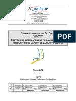 TRAVAUX DE REMPLACEMENT DE LA CHAUDIERE DE PRODUCTION DE VAPEUR DE LA BLANCHISSERIE