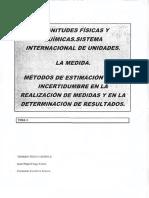 Tema 3 Magnitudes Físicas y Químicas. Sistema Internacional de Unidades. La Medida Métodos de Estimación de La Incertidumbre en La Realización de Medidas en La Determinación de Resultados