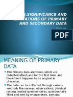 Meaning,Significance and Limitations of Primary and Secondary Data
