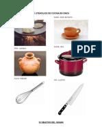 10 Utencilios de Cocina en Xinca