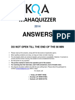 Mahaquizzer 2014 Answers