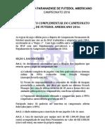 EDF Regras FutebolAmericano Campeonato Regulamento FPFA 2016