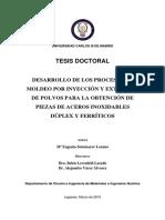 2.Desarrollo de Los Procesos de Moldeo Por Inyección y Extrusión de Polvos Para La Obtención de Piezas de Aceros Inoxidables Dúplex y Ferríticos
