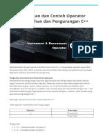 Pengertian dan Contoh Operator Penambahan dan Pengurangan C++ - Belajar C++