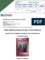 The Brihadaranyaka Upanishad- Information Only