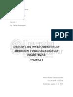 Reporte uso de instrumentos y propagación de incertezas