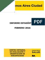 Informe Estadistico Febrero 2016