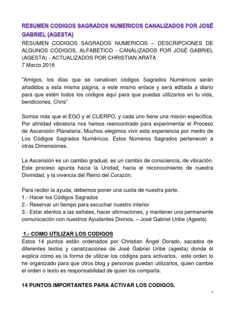 Resumen Codigos Sagrados Numericos Canalizados Por Agesta 7marzo ...