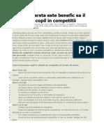 De La Ce Varsta Este Benefic Sa Il Implici Pe Copil in Competitii