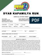 10th DYAB Kapamilya Run Registration Form