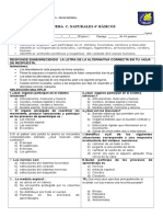 Prueba C.naturales Sistema LOcomotor y Nervioso 2016