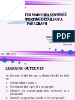 Topic 3 Topic, Main Idea and Supporting Details of a Paragraph