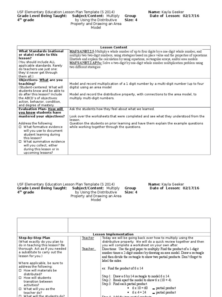 Supervisor Lesson Plan Lesson Plan Multiplication - After school lesson plan template