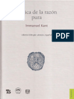 Kant. Crítica de La Razón Pura. Edi. Bilingüe. Trad. Mario Caimi.