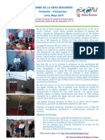 Informe de La Obra Misionera Mayo