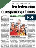 27-09-16 Invertirá federación en espacios públicos