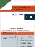 Jenis-Jenis Kesilapan Jawapan Murid Dalam Ujian Dan Peperiksaan(FRACTIONS)