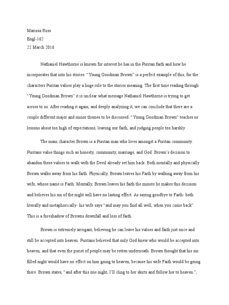 Young goodman brown literary analysis my father my hero my inspiration essay