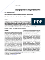 Evaluation of Elite Rice Accessions for Genetic Variability and Identification of Associated Markers for Iron and Zinc Content under Aerobic Condition