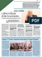 """Nasce il Centro Teatrale """"Cesare Questa"""" - Il Resto del Carlino del 21 settembre 2016"""