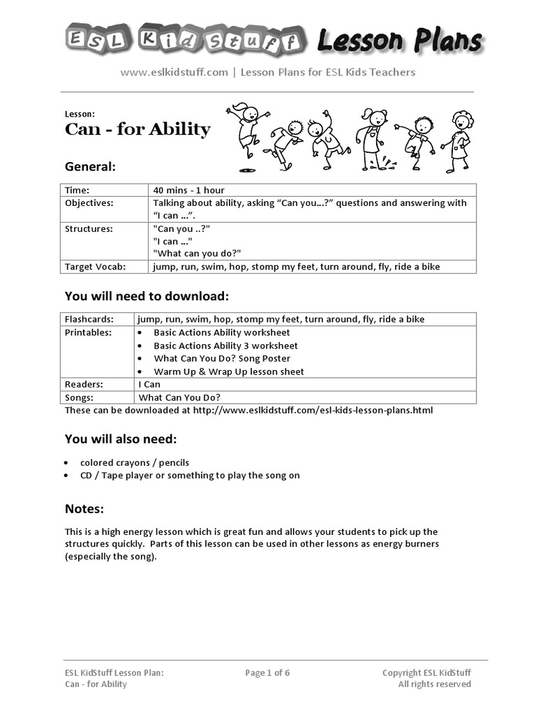 can-for-ability-lesson-plan pdf | Lesson Plan | English As A