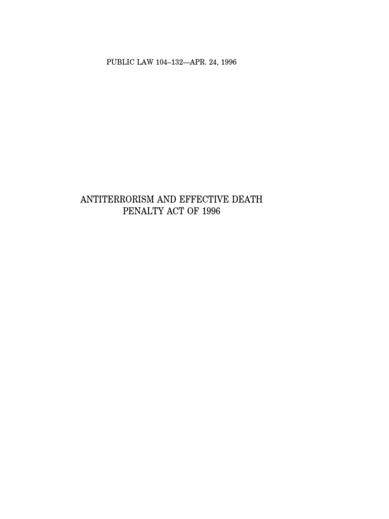 Antiterrorism and Effective Death Penalty Act of 1996