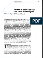 The Ethnic Factor in State-labour Relations - The Case of Malaysia - Rowley and Mhinder