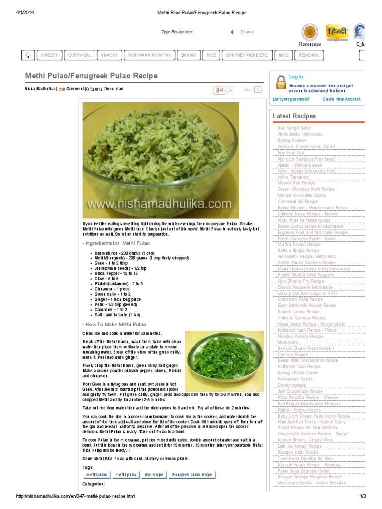 Methi rice pulaofenugreek pulao recipepdf curry vegetarian cuisine forumfinder Choice Image