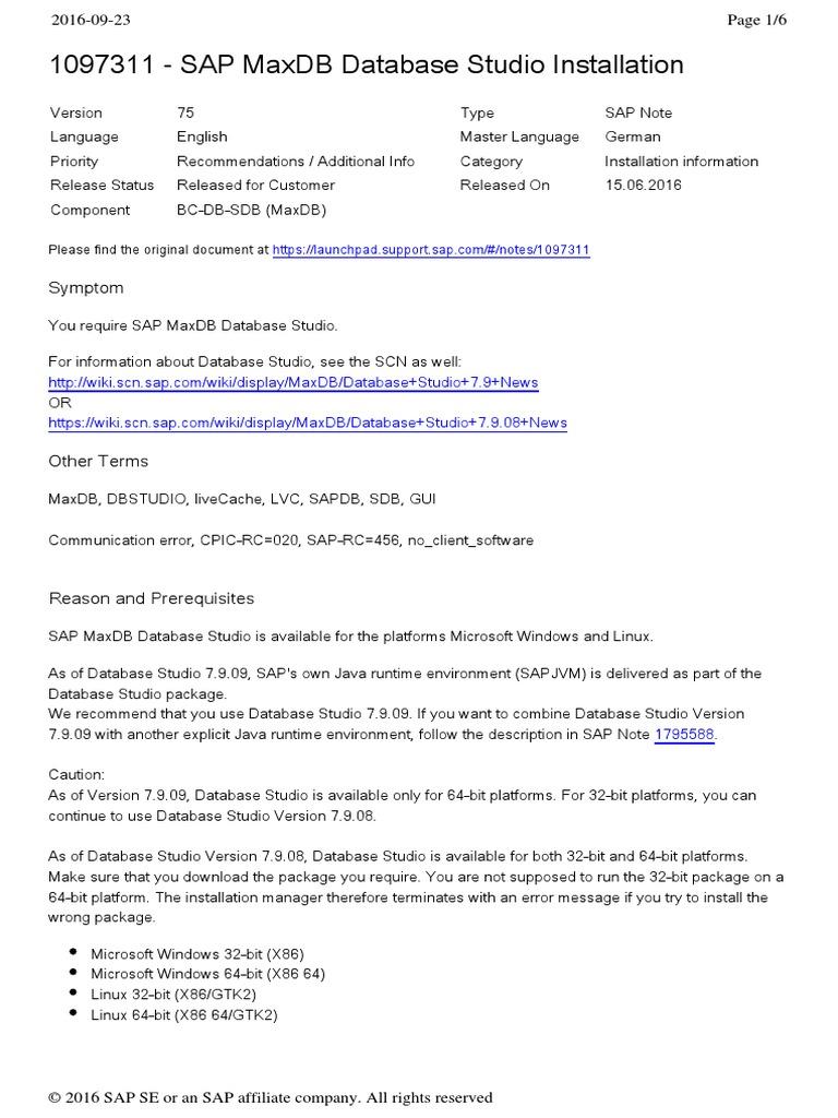 1097311 - Sap Maxdb Database Studio Installation: Symptom