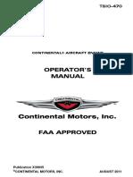 Continental TSIO-470 Operator's Manual