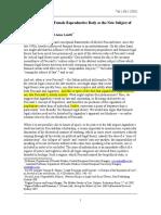 Cerwonka (2011) Feminism, Foucault, Agamben