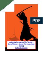 Leadership Principles of the Warrior – Series Thirteen Leadership Ascendency (Part 5)